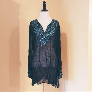 Zara Sheer Beaded Embellished Boho Shirt